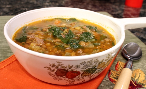 Ground Beef and Green Lentil Soup