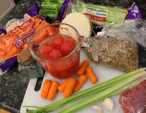 Ground Beef and Lentil Soup Ingredients