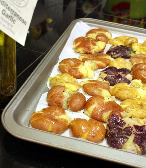 Seasoned and Oiled Smashed Potatoes