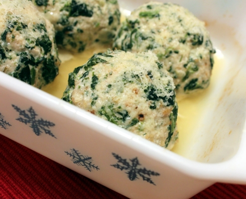 Baked Spinach Garlic and Rosemary Turkey Meatballs