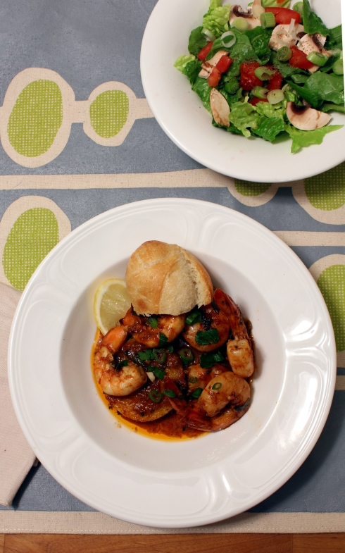 BBQ Shrimp with Fried Polenta Cakes