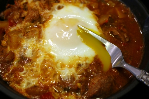 Egg in Carne Guisada Heaven