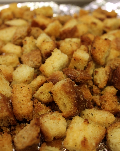 Homemade Roasted Garlic and Parmesan Croutons