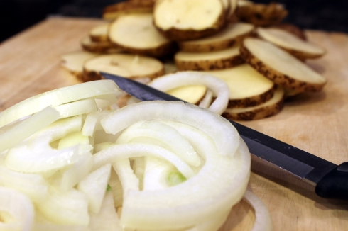 Sliced Onions and Potatoes