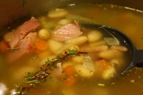 Simmering the Ham and Bean Soup