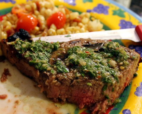 Chimichurri Sauce with Grilled Ribeye
