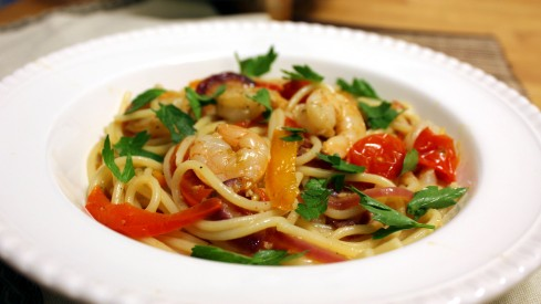 Drunken Shrimp with Spaghetti and Peppers