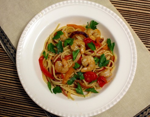 Drunken Shrimp with Spaghetti and Peppers2