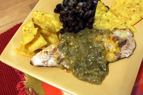 Fire-Roasted Tomatillo Sauce on Grilled Chicken