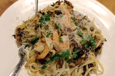 Fried Artichokes and Shrimp Pasta