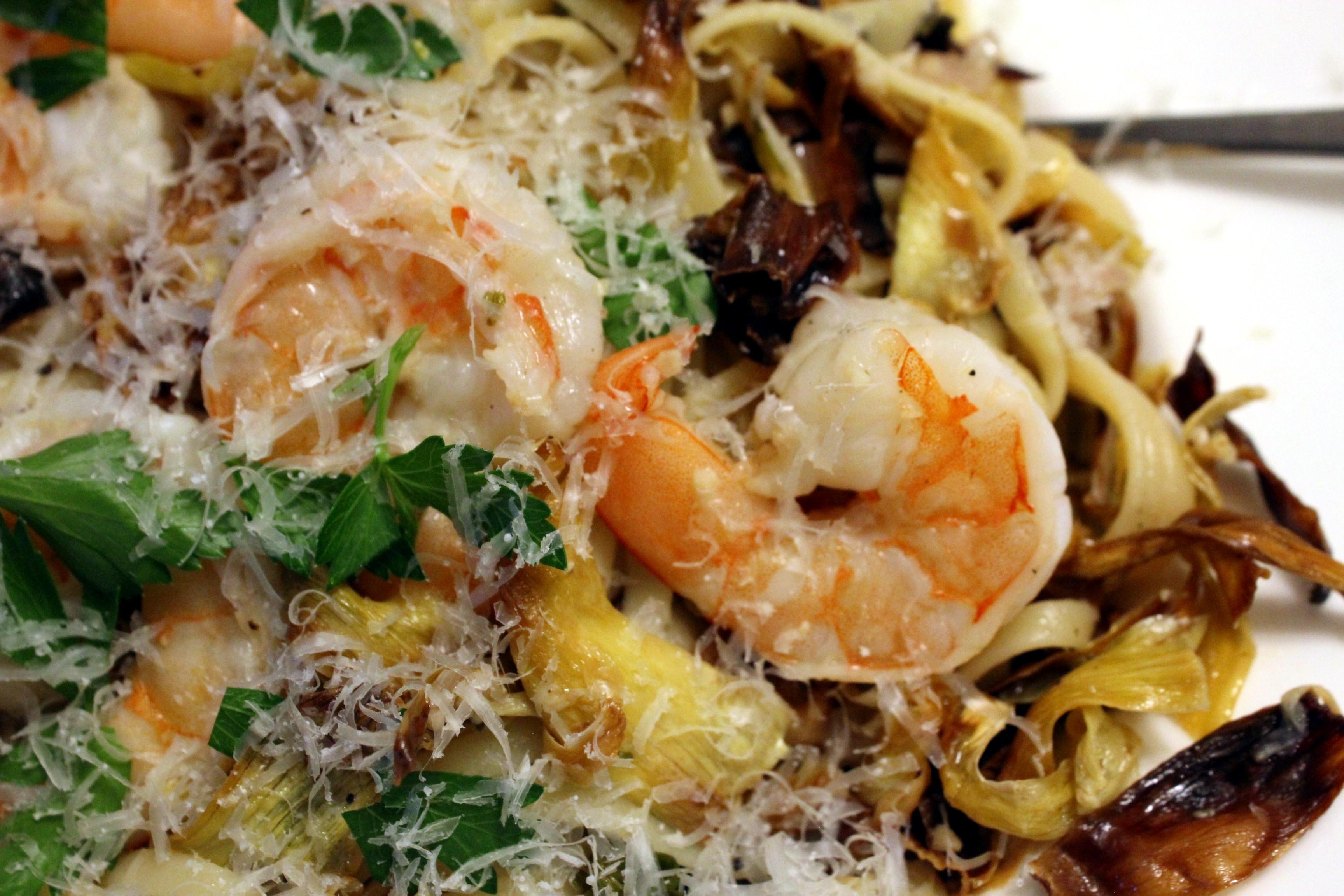 Shrimp And Artichoke Fettuccine Recipe — Dishmaps