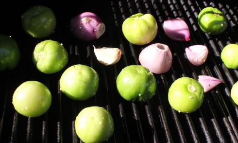 Grilling the Tomatillos, Shallots, and Garlic