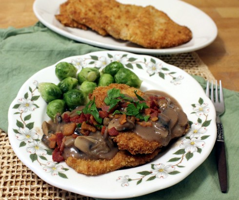 Jagerschnitzel with Mushroom Gravy and Bacon