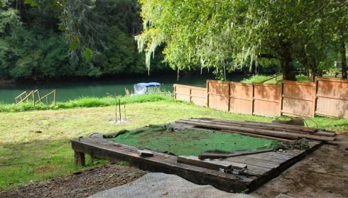 New Base for Deck from Dock that Pushed it out Last Year in Floods