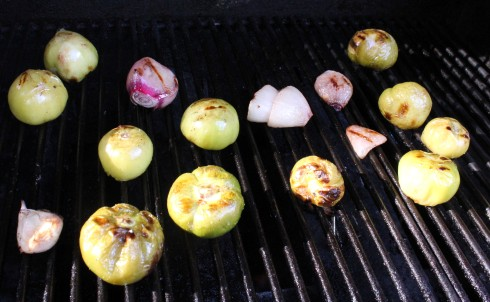 Roasted Tomatillos, Shallots, and Garlic