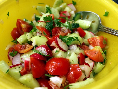Quick Cucumber, Tomato, Onion, and Radish Salad