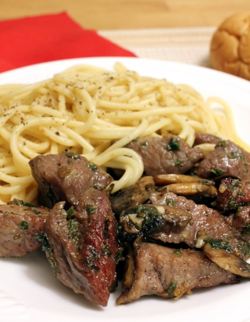 Sage-Infused Sirloin Tips and Mushrooms with Cacio e Pepe