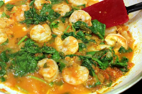 Shrimp and Spinach Added to Sauce