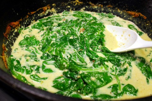Simmering the Sauce and Wilting the Spinach