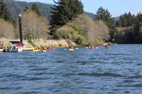 An armada of Kayakers on the Siletz River