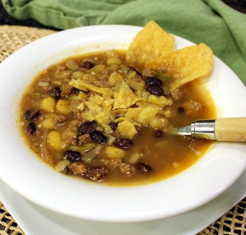 Mexican Poblano Burger Soup