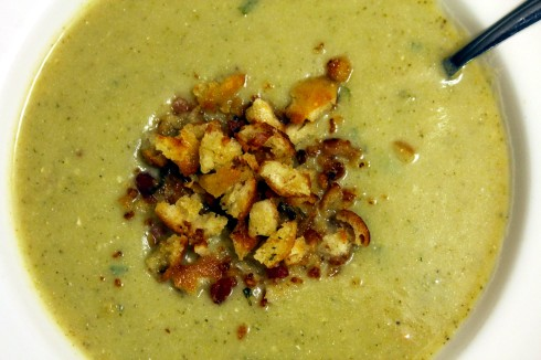 Potato Leek and Broccoli Soup with Pancetta Bread Crumbs