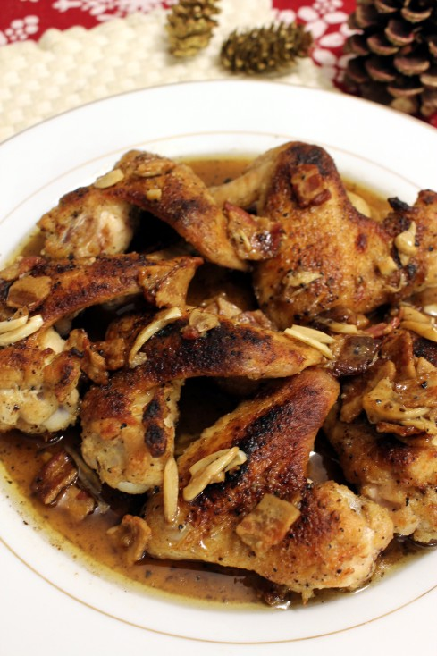 Braised Chicken Wings in Garlic and Sherry
