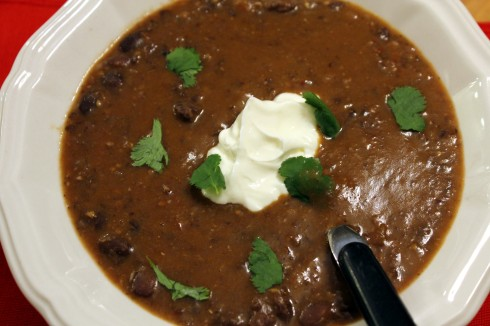 Spicy Black Bean and Sausage Soup with Roasted Garlic