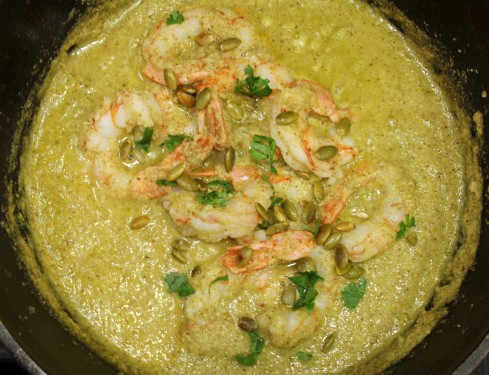 Shrimp in Pepita Tomatillo Sauce