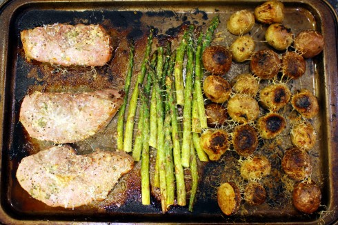 Mediterranean Pork Chops Sheet Pan Dinner